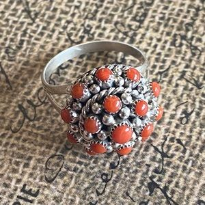 Zuni Coral & Sterling Petit Point Ring Size 6.5